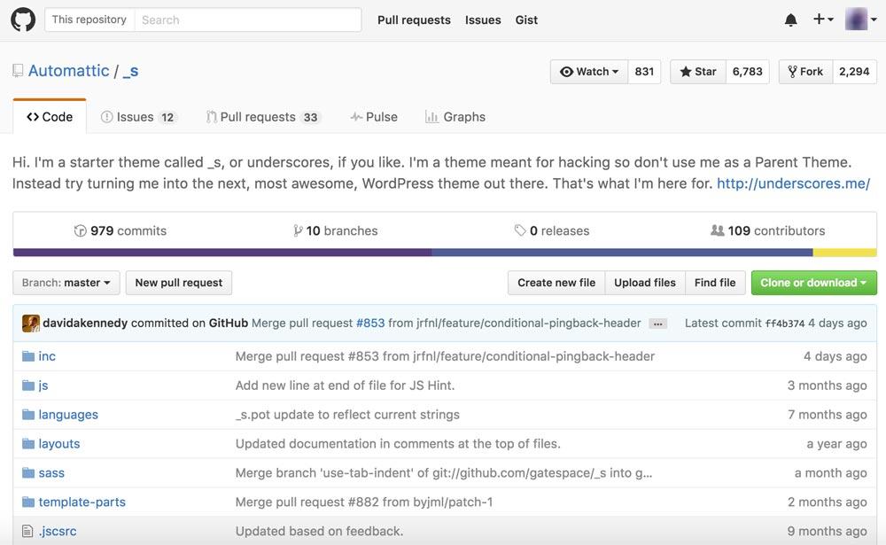 پروژه ی Underscores - گیت هاب - قالب وردپرس - آموزش طراحی قالب وردپرس