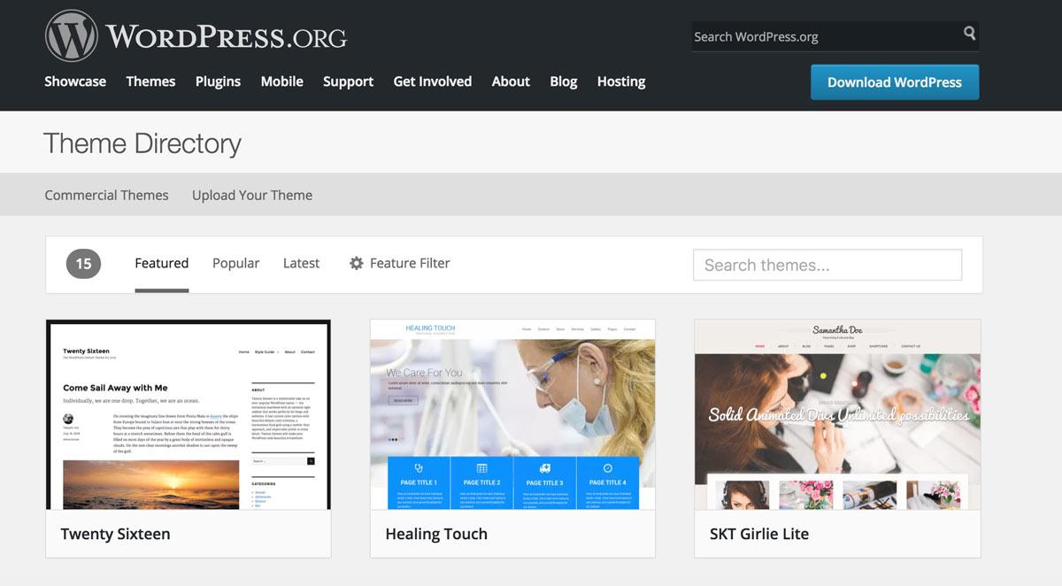 مخزن قالب های وردپرس ( WordPress Theme Repository )